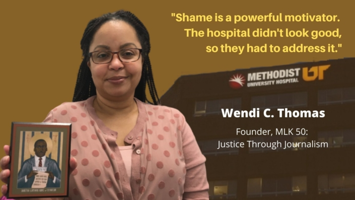 Journalist Wendi Thomas She is pictured in front of an image of the hospital, with a quote saying says the hospital was shamed into changing its practices.