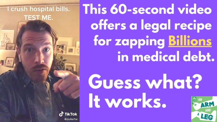 "Inset: guy with mustache, captioned ""I crush medical bills. TEST ME."" Plus the heading: ""This 60-second video offers a legal recipe for zapping billions in medical debt. Guess what? It works."""